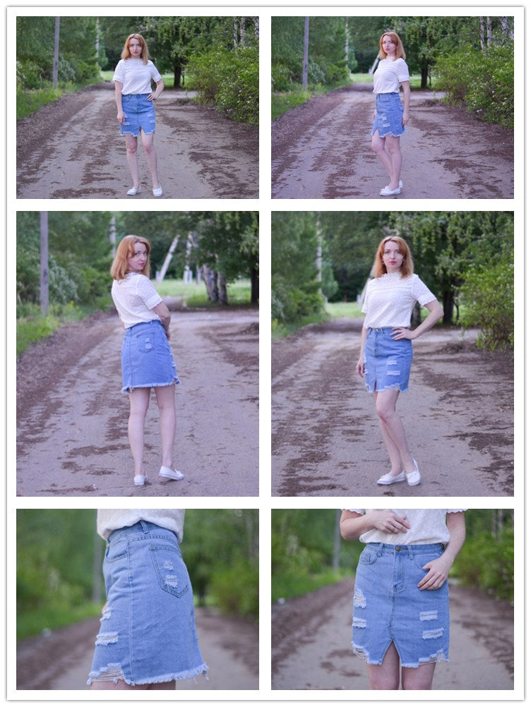 These Ripped Frayed Edgey Denim Skirts Rock Streetwear, High Waist Blue Pencil Skirt Fashion Mini!