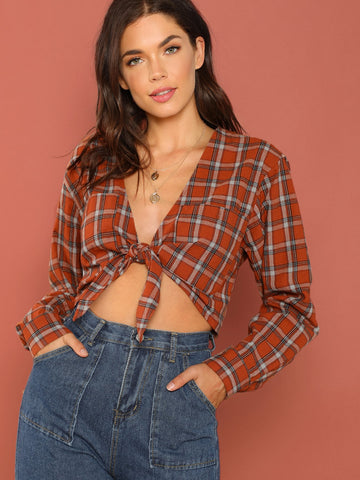Contrast Panel Plaid Blouse