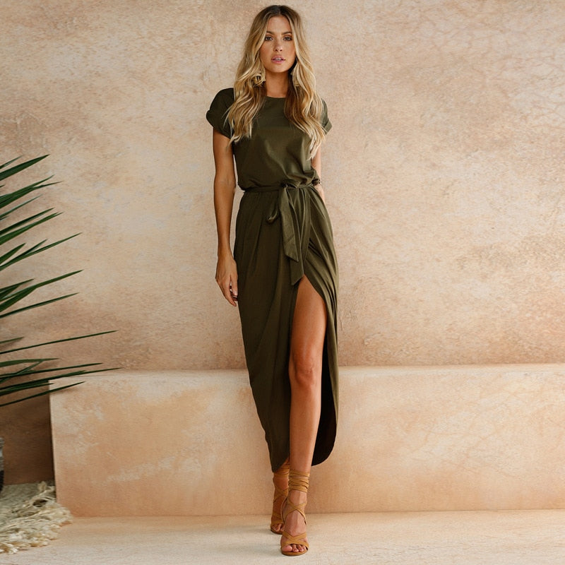 Summer Women's Bohemian Beach Dresses Personality Slim Tunic Long Casual Short-Sleeved Waistline Asymmetrical Vestidos