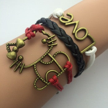 Kitty Multi Layer Ladies Bracelet Leather Bracelet Cool