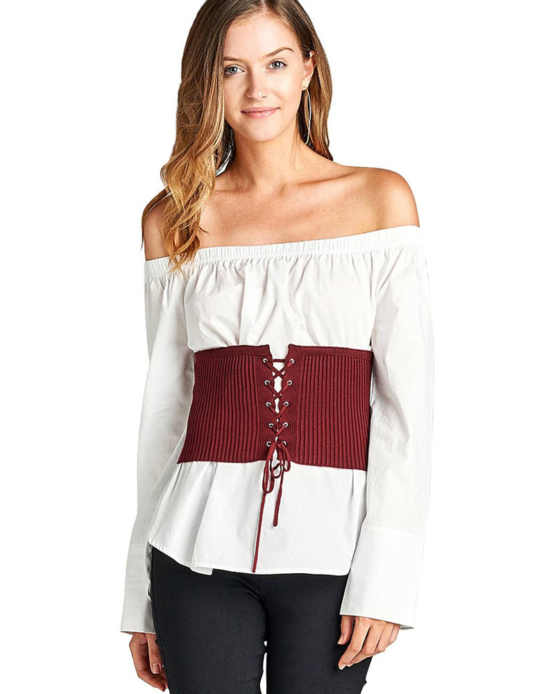 Grommet accents fashion corset.