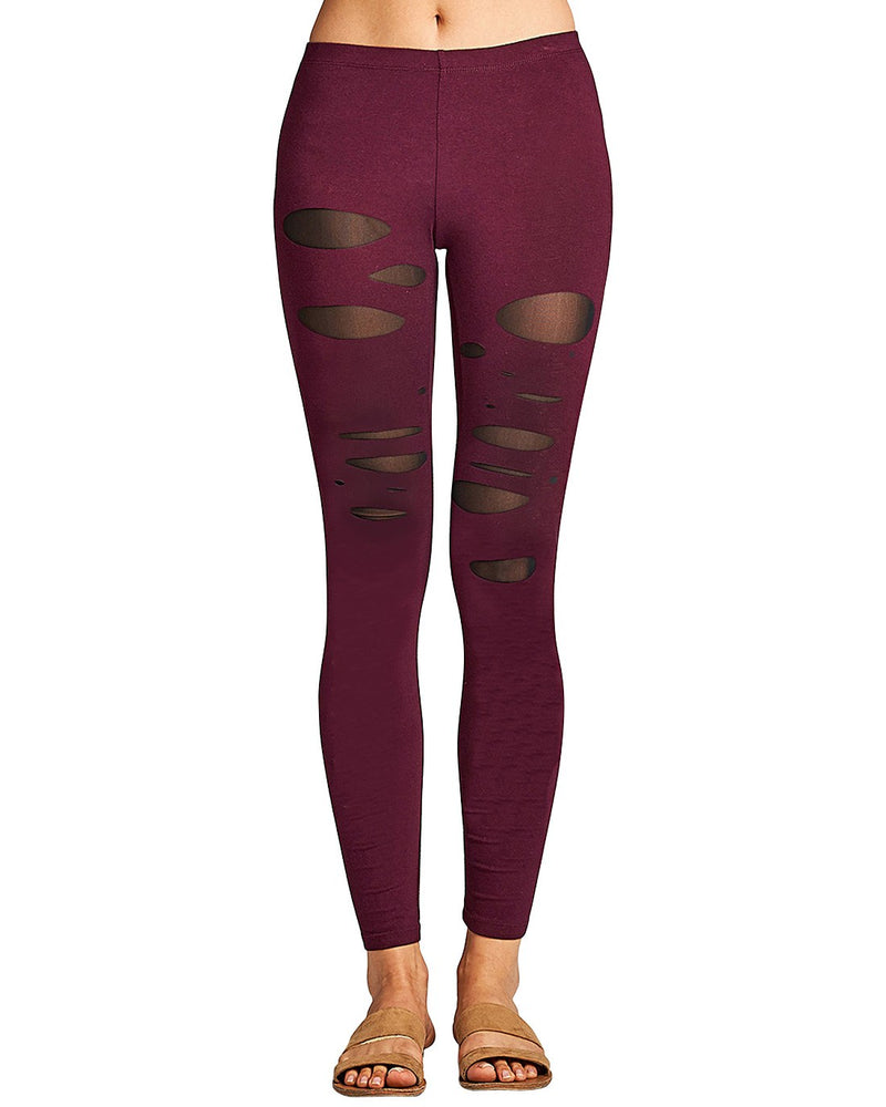 Raw ladder cutouts stretch-knit athletic leggings.