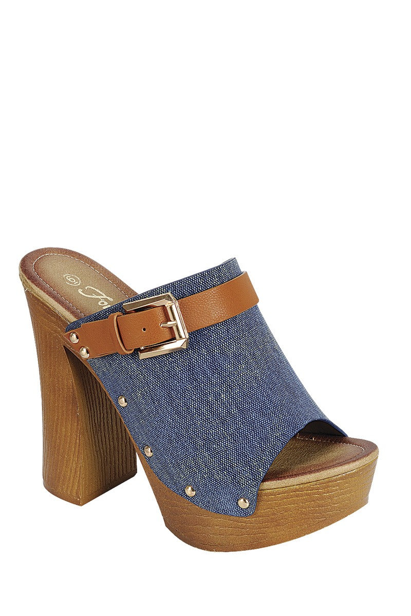 Ladies fashion denim upper slip on with buckle detail, and wooden covered heel.
