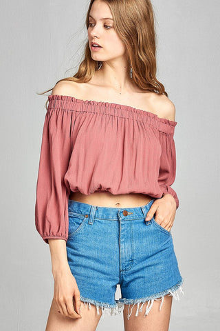 Sleeve W/Tie Drawstring Crop Crinkle Gauze Woven Top