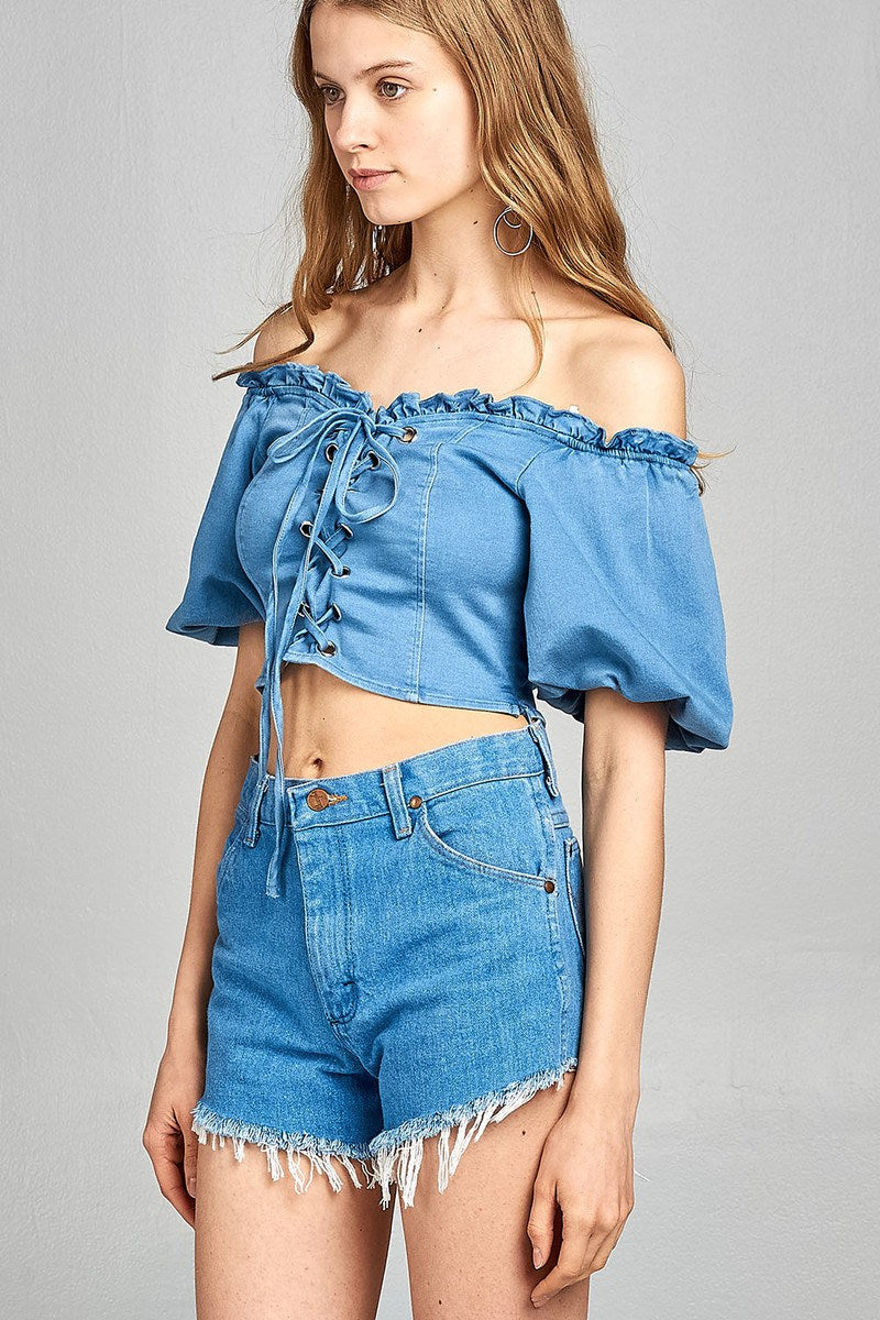 Ladies fashion short bubble sleeve heart neckline w/ruffle front ace-up denim crop top