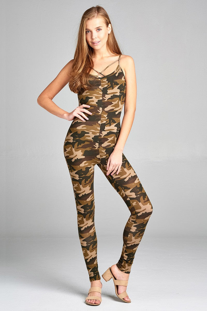 Ladies fashion front cross strap cami bodycon w/camo print jersey cotton spandex jumpsuit