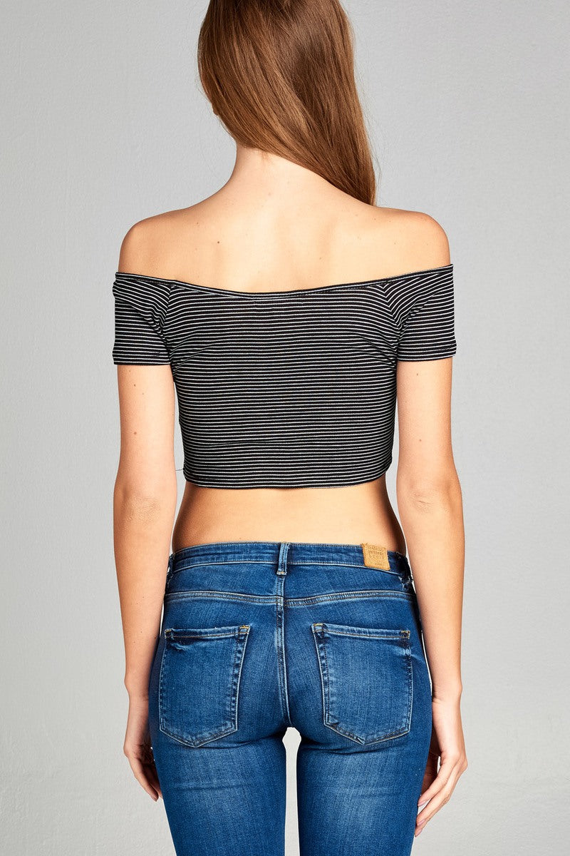 Ladies fashion short sleeve off the shoulder front shirring detail crop stripe rayon spandex rib top