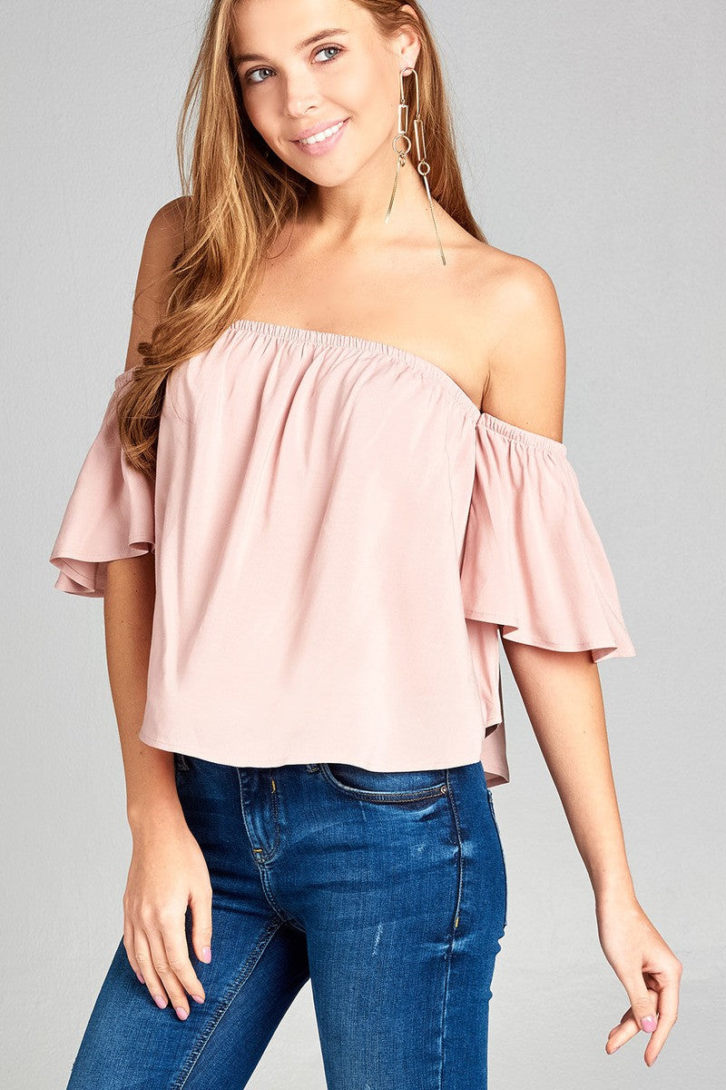 Ladies fashion off the shoulder rayon challis woven top
