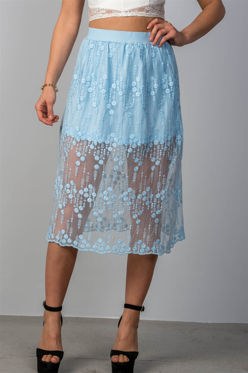 Ladies fashion boho elastic waist lined lace midi skirt