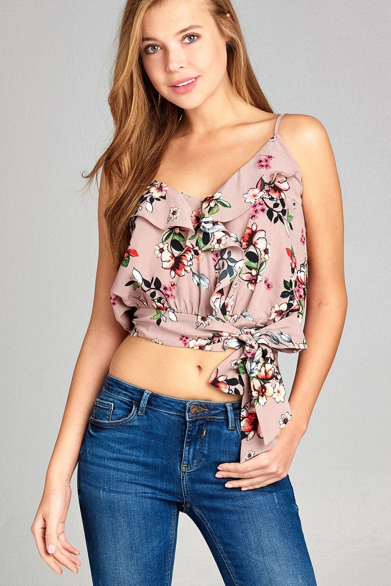 Ladies fashion v-neck wrap w/ruffle detail waist tie floral printed cami top.