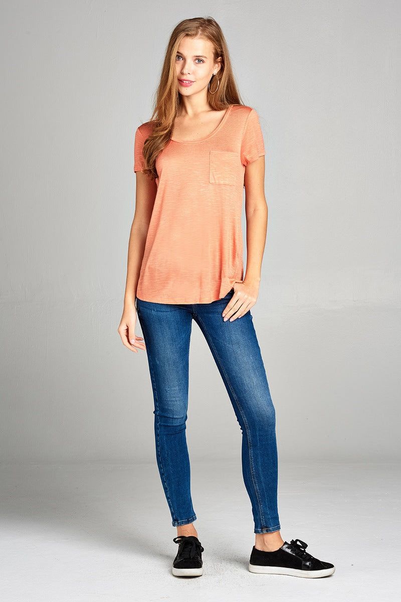 Ladies fashion short sleeve scoop neck w/pocket rayon slub top