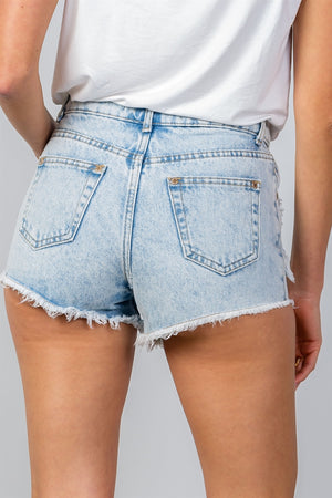 Ladies fashion light denim high waisted distressed frayed denim shorts