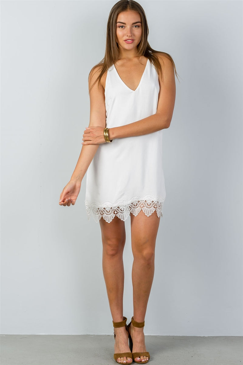 Ladies fashion low back crochet hem loose mini dress