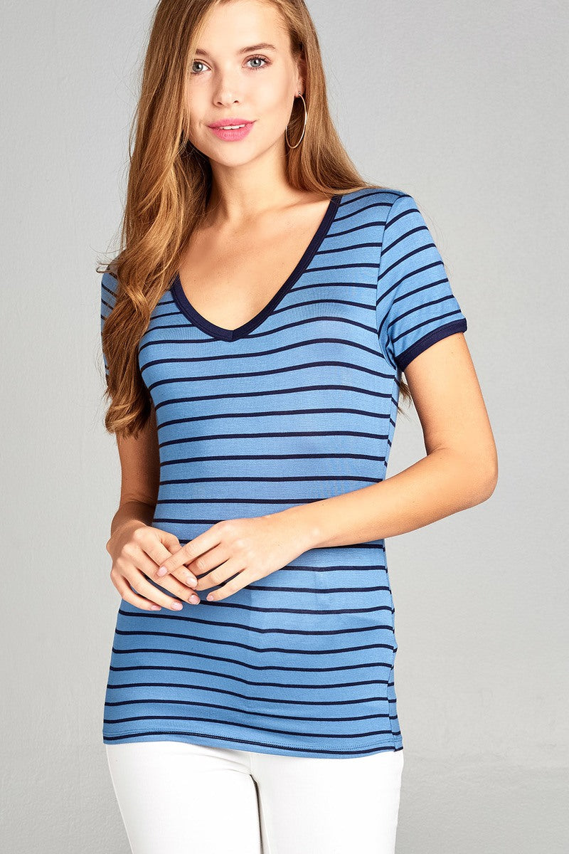 Ladies fashion short sleeve v-neck yarn dyed stripe rayon spandex top