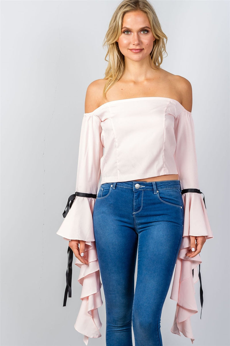 Ladies fashion pink ruffles flare sleeve off the shoulder blouse.