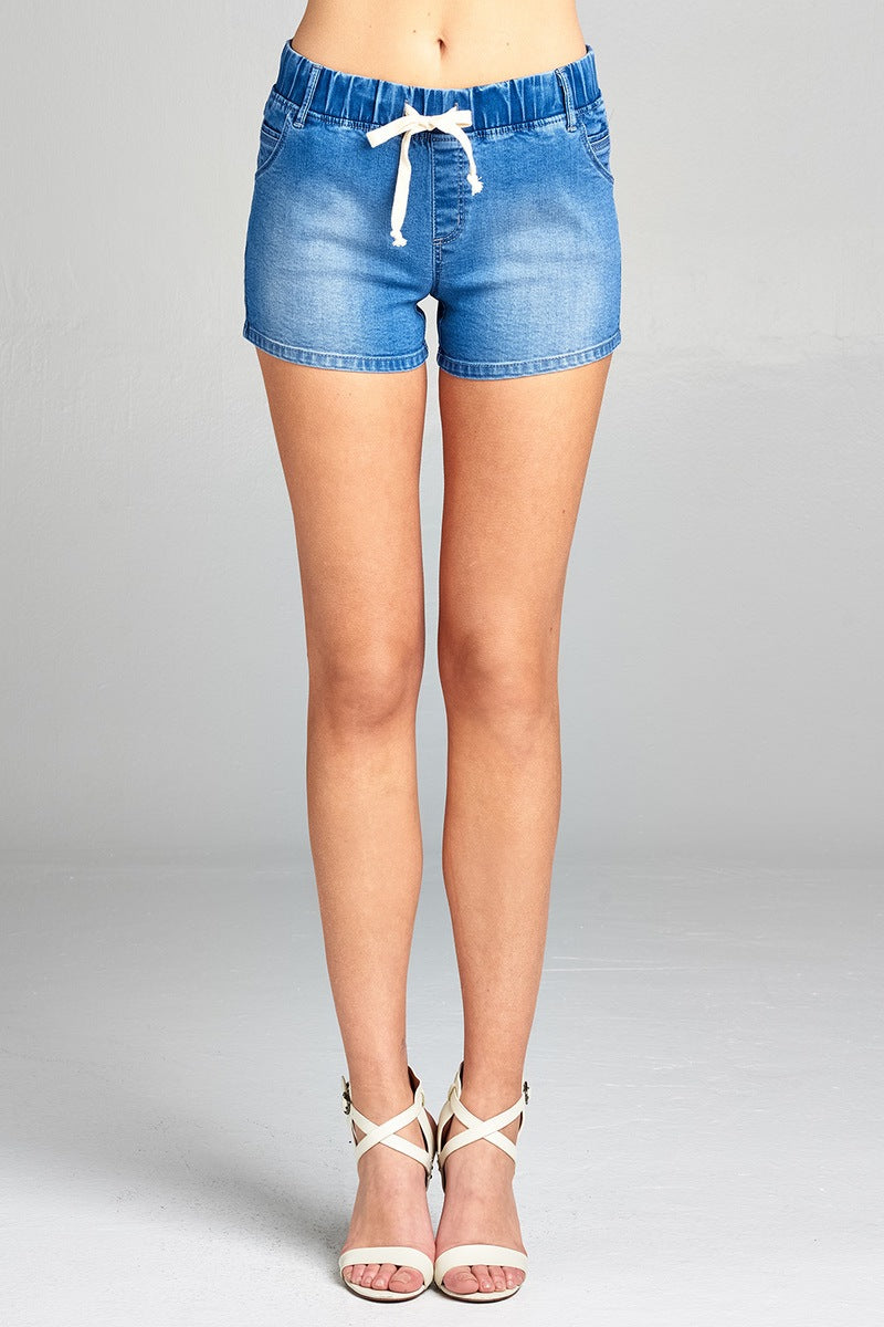 Ladies fashion drawstring detail denim short pants