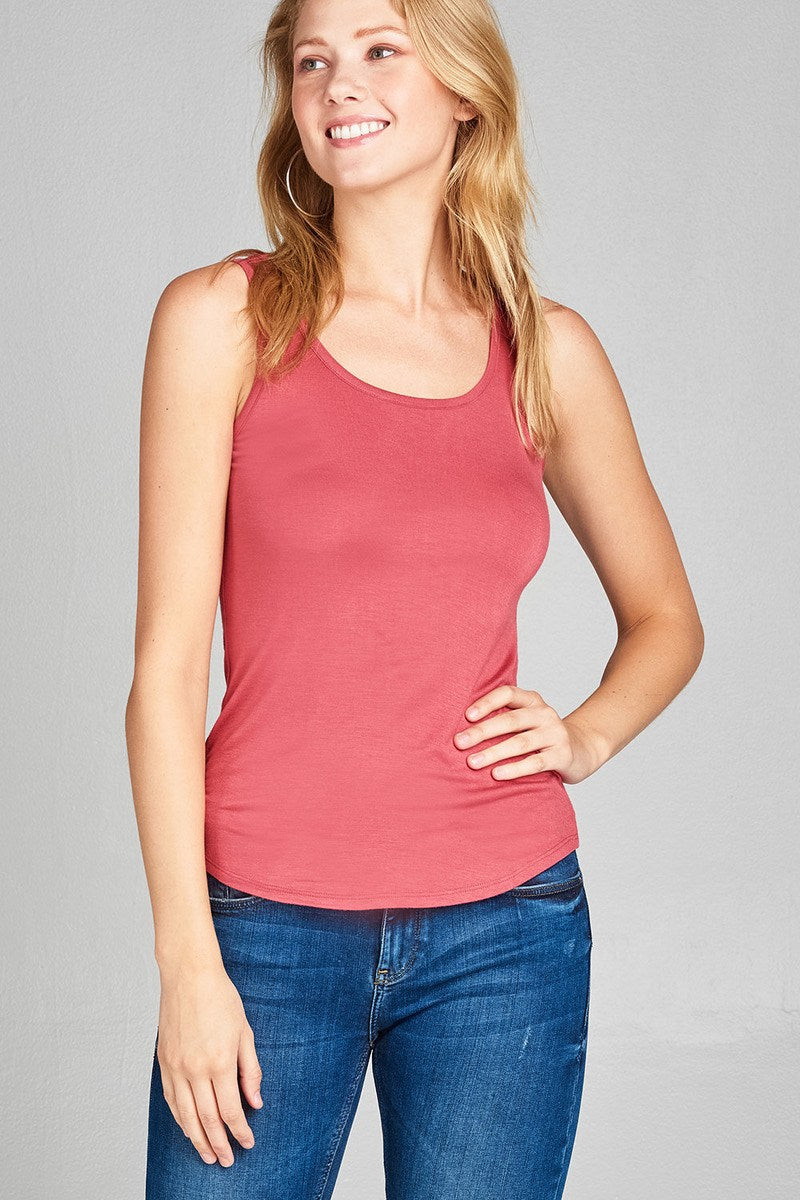Ladies fashion round neck w/back cross strap detail rayon spandex top