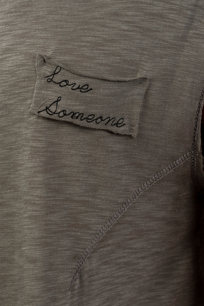 "Ladies fashion round neckline ""love someone"" graphic side flowy tee"