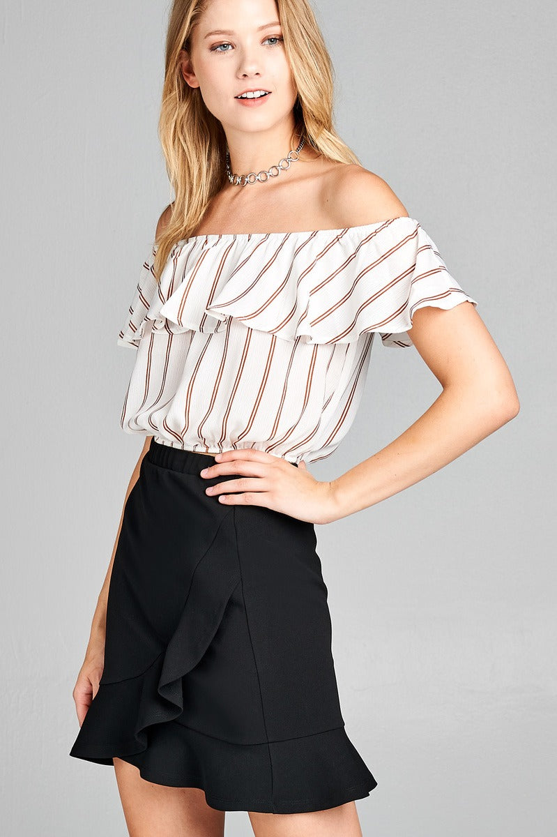 Ladies fashion off the shoulder w/ruffle elastic hem stripe print crop woven top