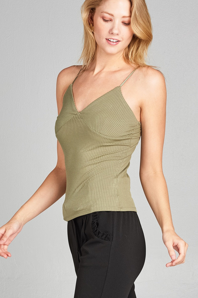 Ladies fashion v-neck rayon spandex rib cami crop top