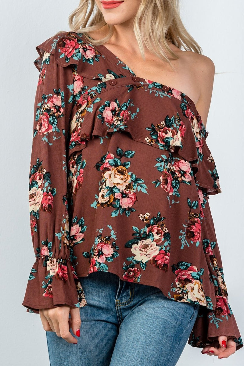 Ladies fashion mocha and floral print one shoulder ruffle blouse
