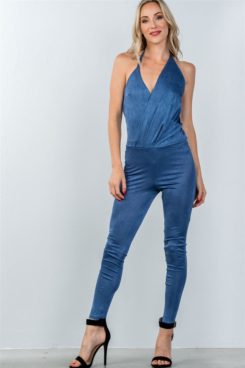 Ladies fashion low back halter lapel drape front jumpsuit