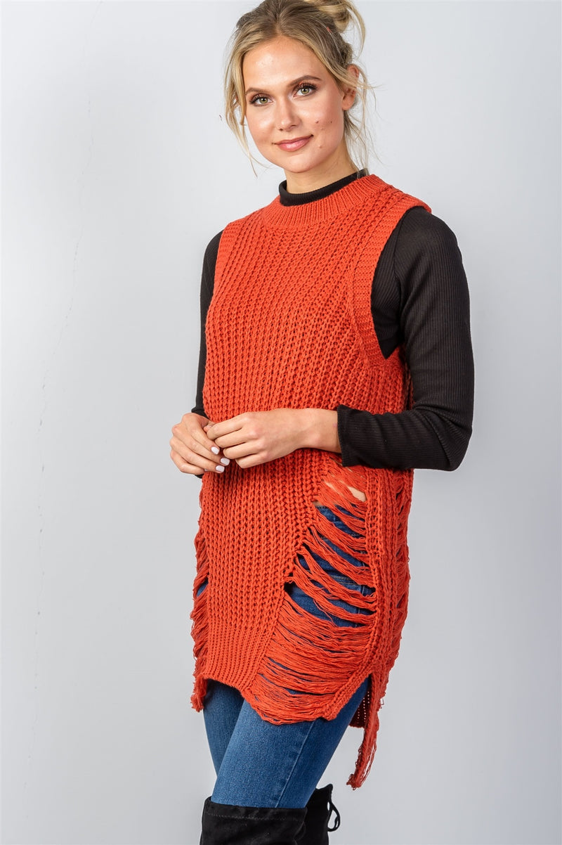 Ladies fashion round neckline sleeveless sweater knit distress sides d