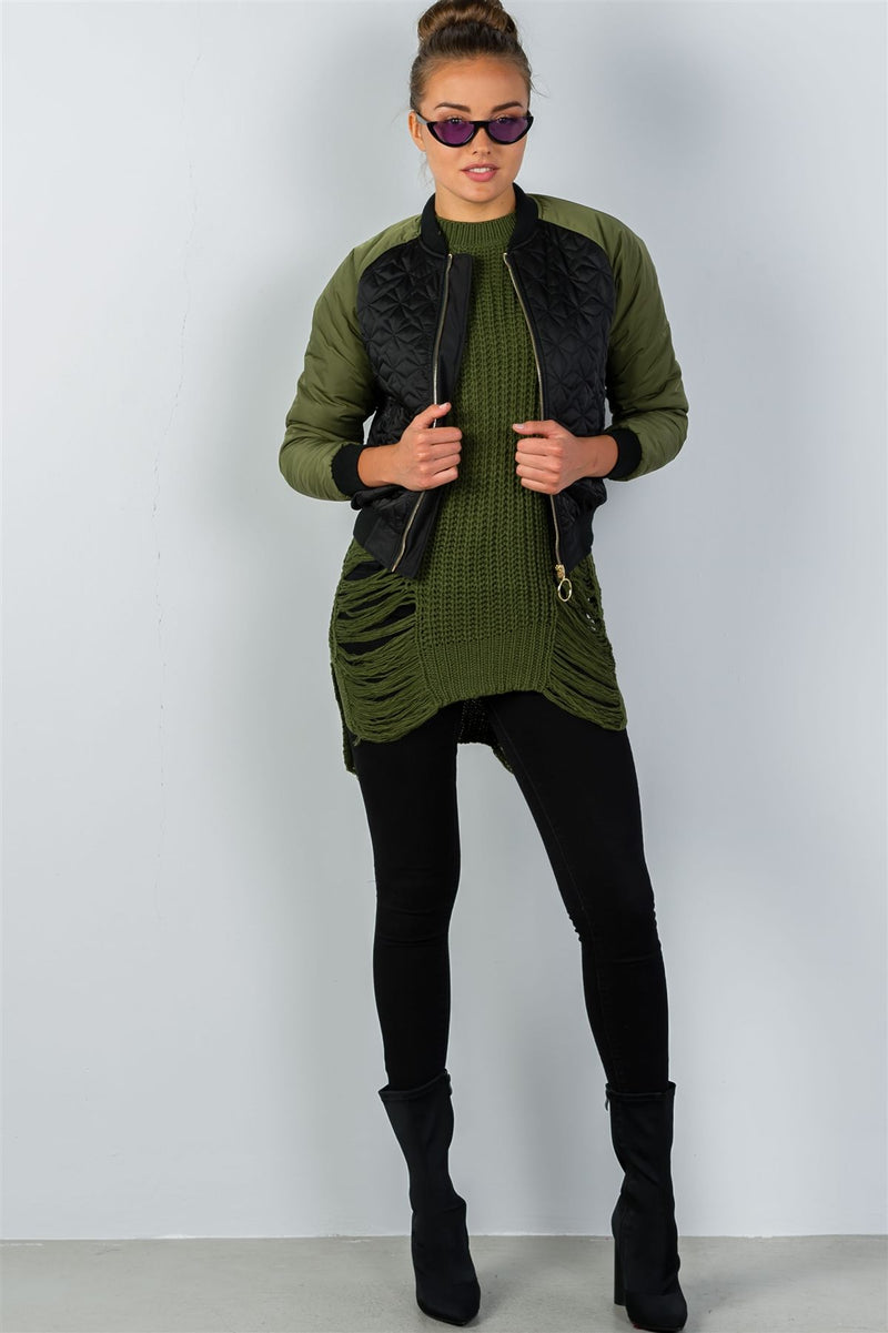 Ladies Fashion Black Olive Quilted Bomber Jacket