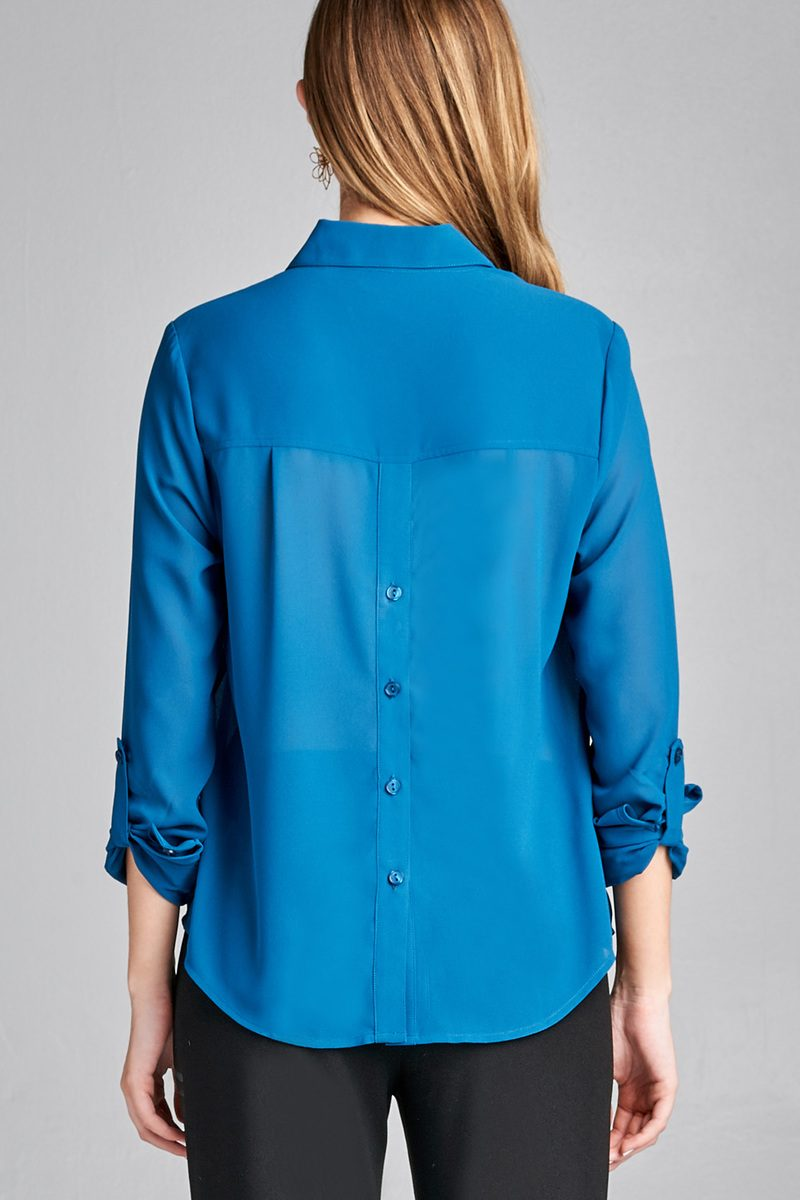 Ladies fashion long sleeve front pocket chiffon blouse w/ back button detail