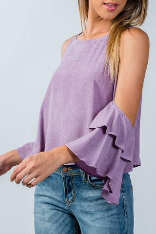 Lettuce Edge Trim Ribbed Knit Top