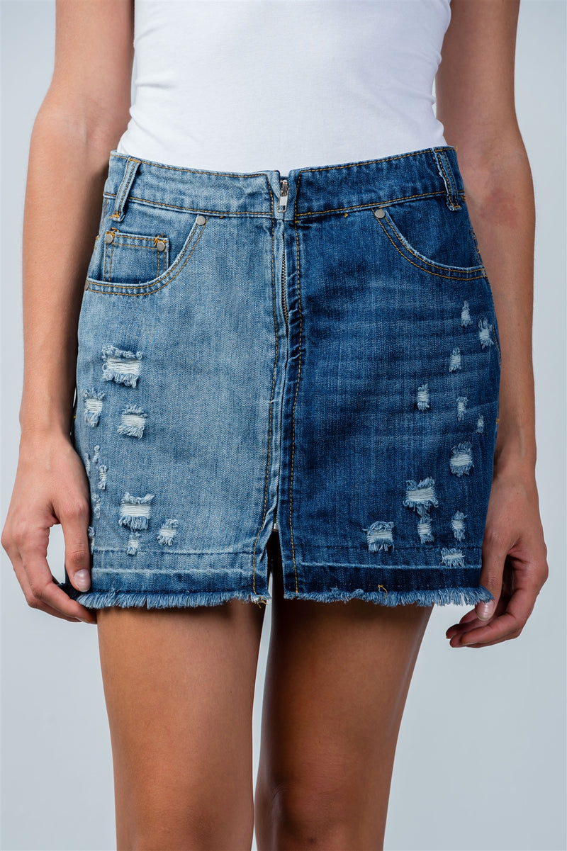 Ladies fashion full zip distress denim mini skirt