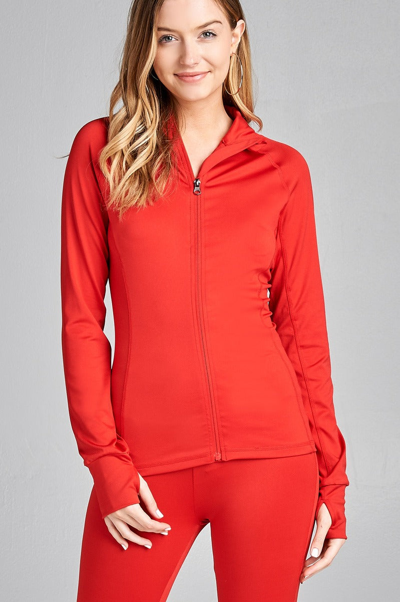 Ladies fashion solid track jacket. All Colors & Sizes.