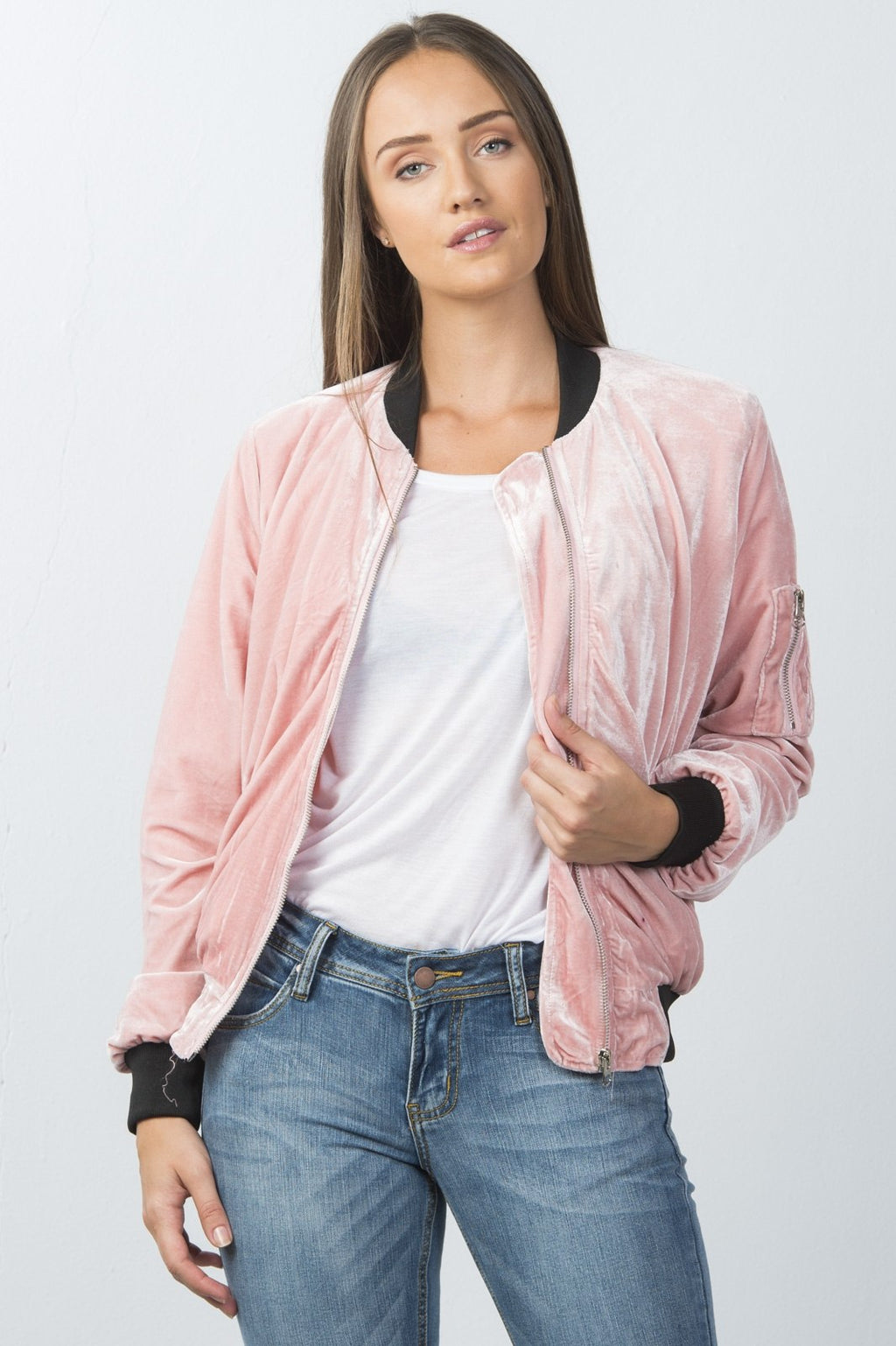 Ladies fashion contrast cuffs velvet bomber jacket