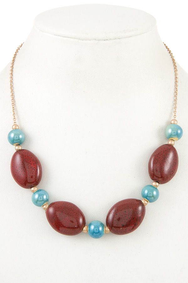 Gemstone oval bead necklace