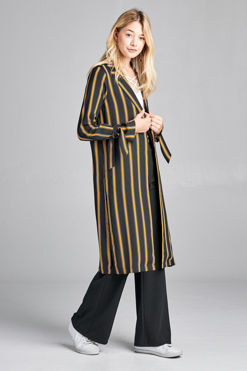 Ladies fashion long sleeve notched collar side slit multi stripe long jacket