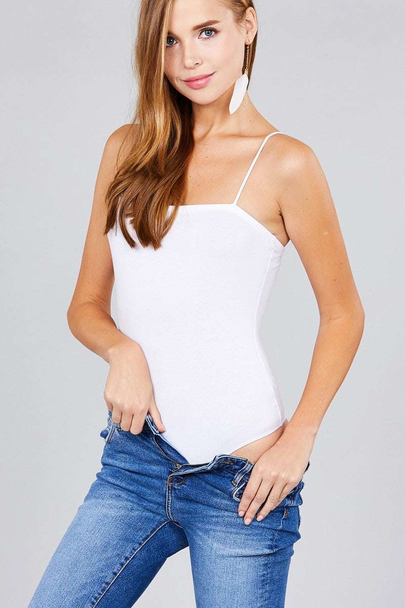 Ladies fashion straight neck cami bodysuit