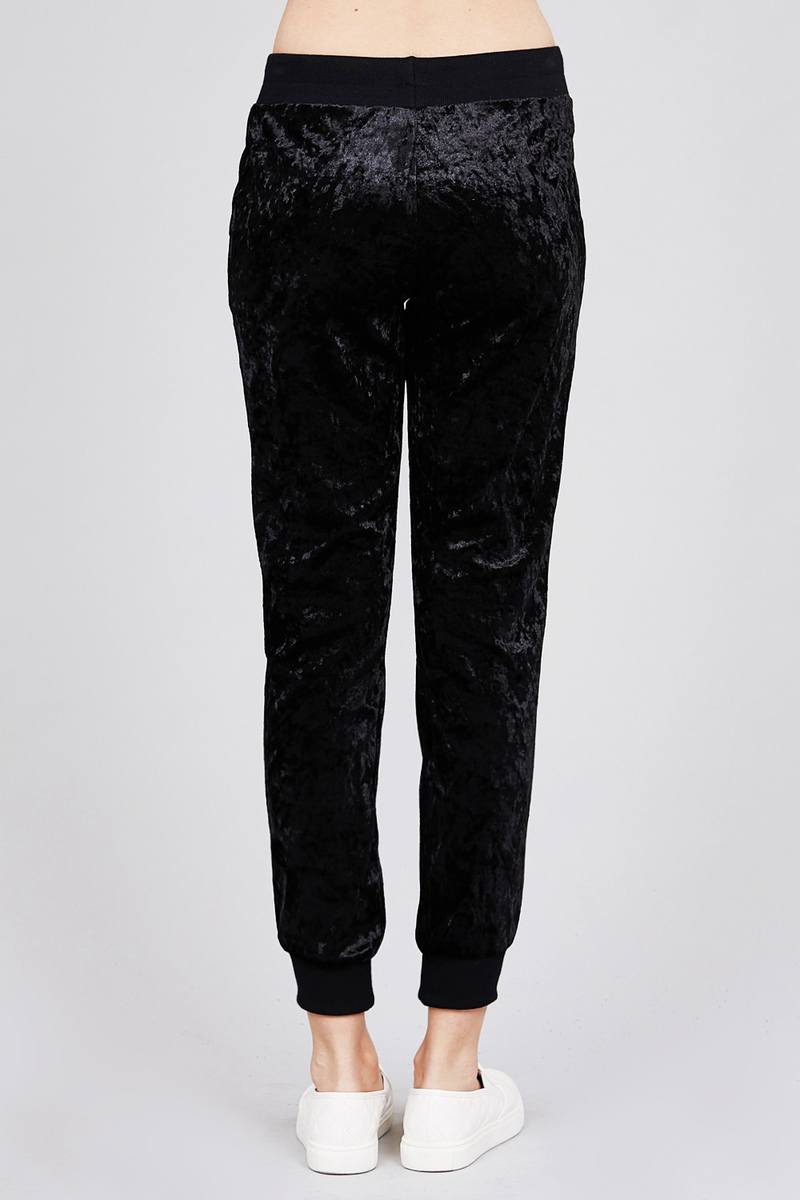 Waist contrast band w/drawstring ice velvet pants.