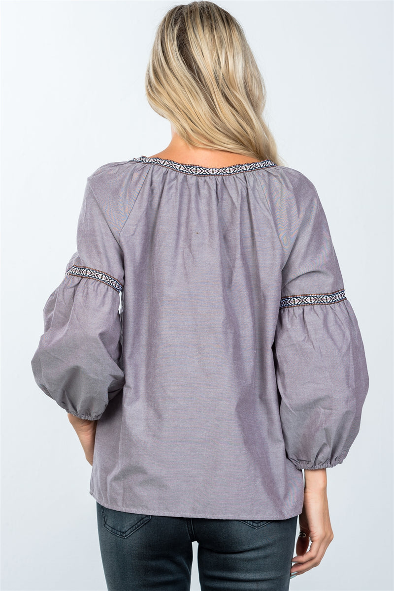 Boho drop shoulder embroidery blouse