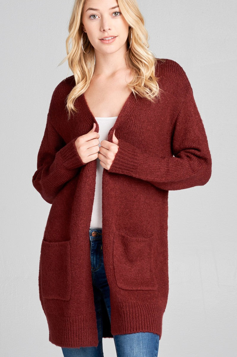 Ladies fashion long sleeve open front w/pocket tunic sweater cardigan