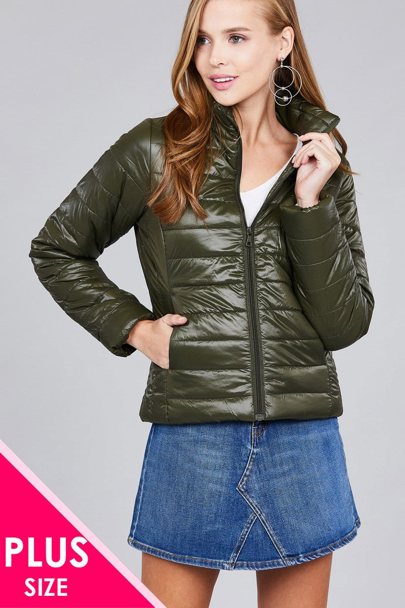 71fc72f317a Ladies fashion (Plus Size) long sleeve quilted padding jacket