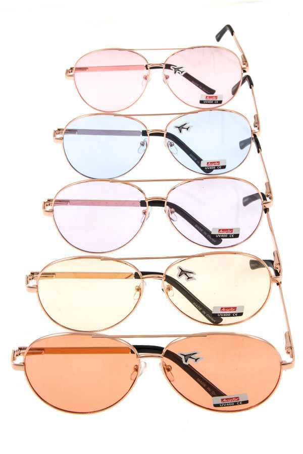 Oversize color lens aviator sunglasses