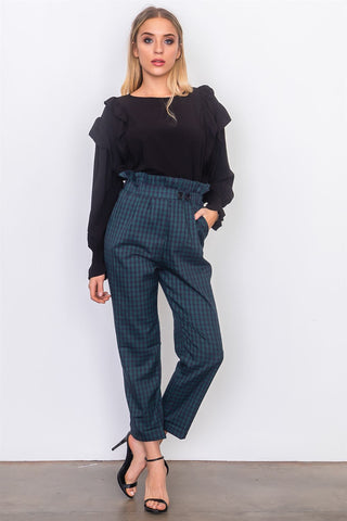 Ladies fashion grey criss cross leg high waist pants.