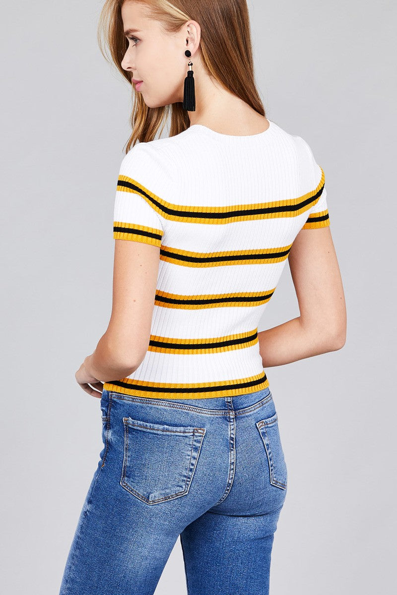 Short sleeve round neck multi stripe rib sweater top