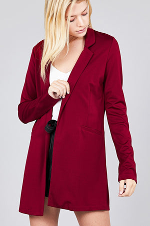 Long Sleeve Notched Collar W/pocket Tunic Jacket, Many Colors