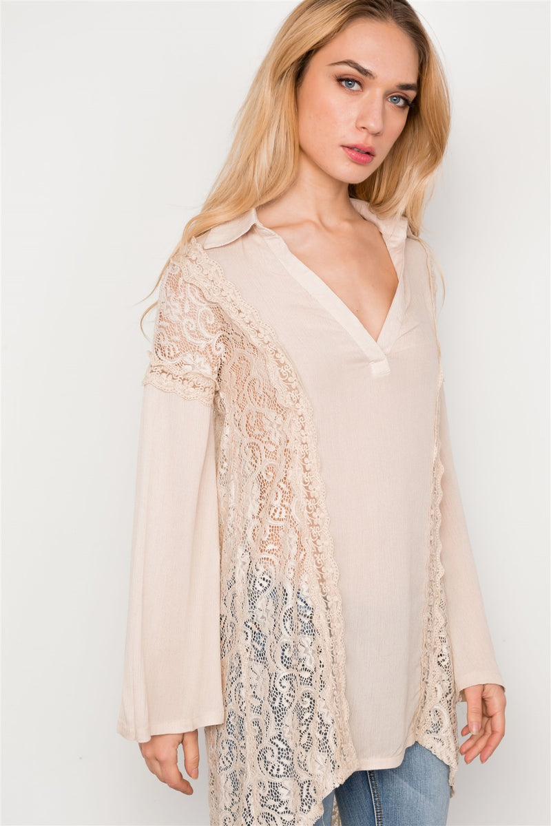 Combo Lace Bell Sleeve Tunic Top