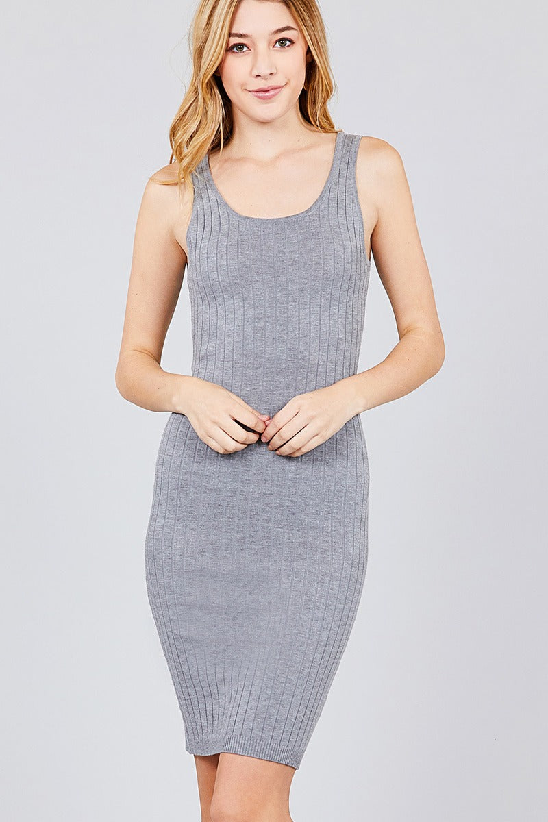 Double Scoop Neck Body Fitted Rib Sweater Dress