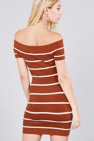 Rainbow Striped Fuzzy Knit Bodycon Dress