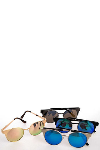 Cat Eye Aviators Color Mirror Sunglasses