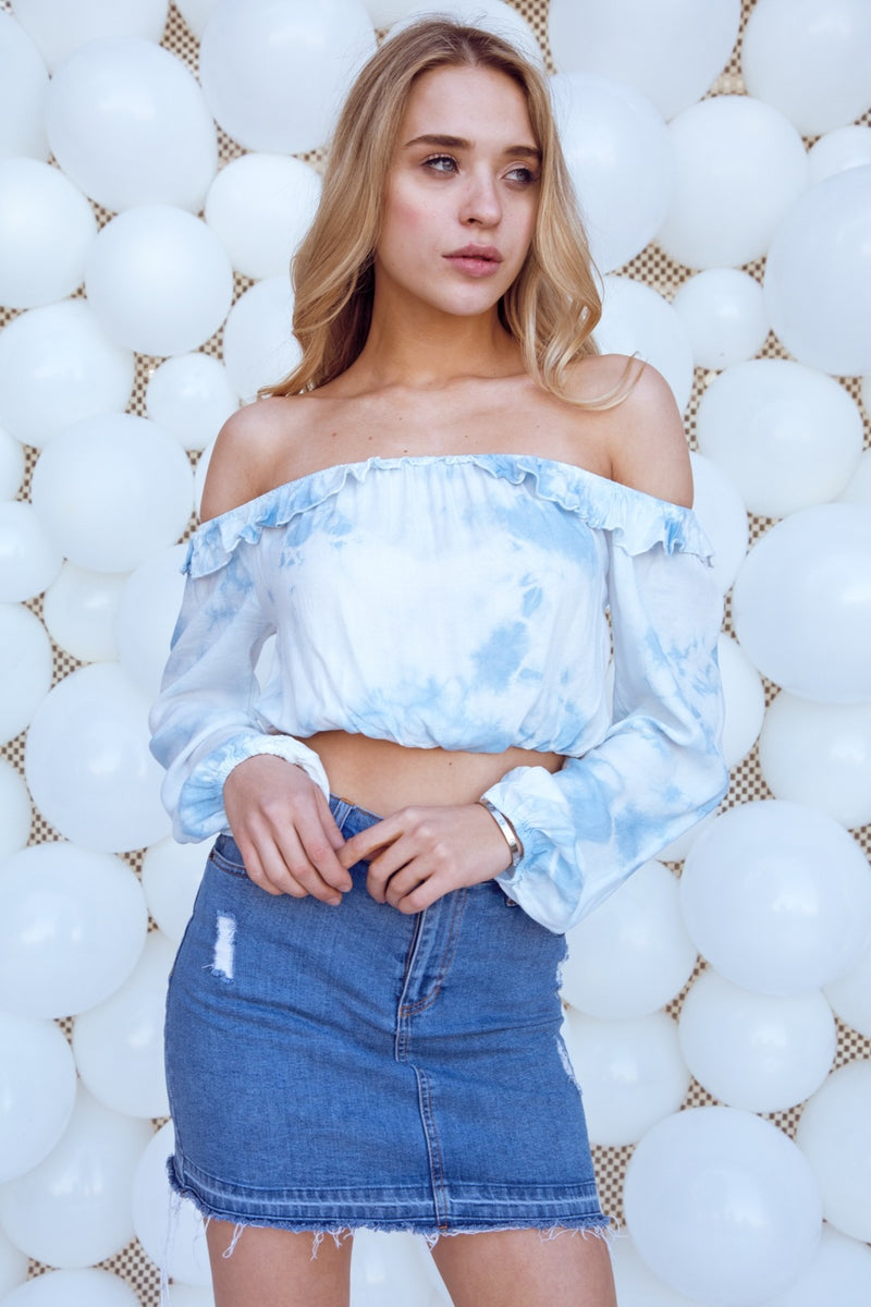 Tie Dye Off The Shoulder Long Sleeve Top
