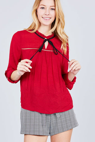 Ladies fashion long sleeve wide cuff w/contrast color tie wool dobby woven top